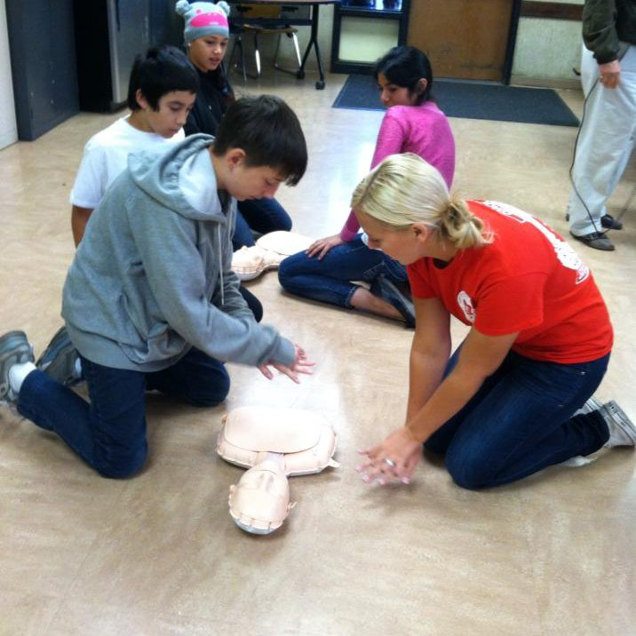 Teaching Hands Only CPR to 44 seventh graders at Santa Rosa Charter School.